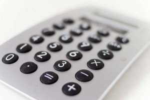 Closeup of a calculator for payroll
