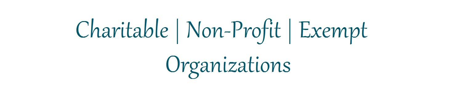 White background with blue text that says charitable non profit exempt organizations