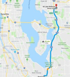 Colorful map of directions outlined in blue from Renton Small Business to Huddleston Tax CPAs Bellevue Meeting Location that is identified by red icon