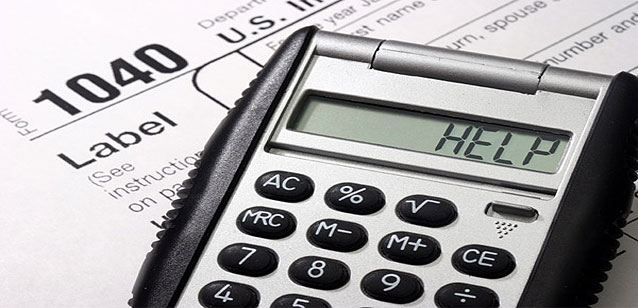 Business Accounting Financial Calculator that says help on a 1040 irs form