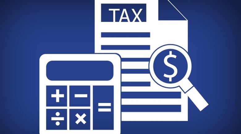 blue background for a tax center with white calculator icon next to a tax newsletter that says tax with a dollar sign advertising for taxes