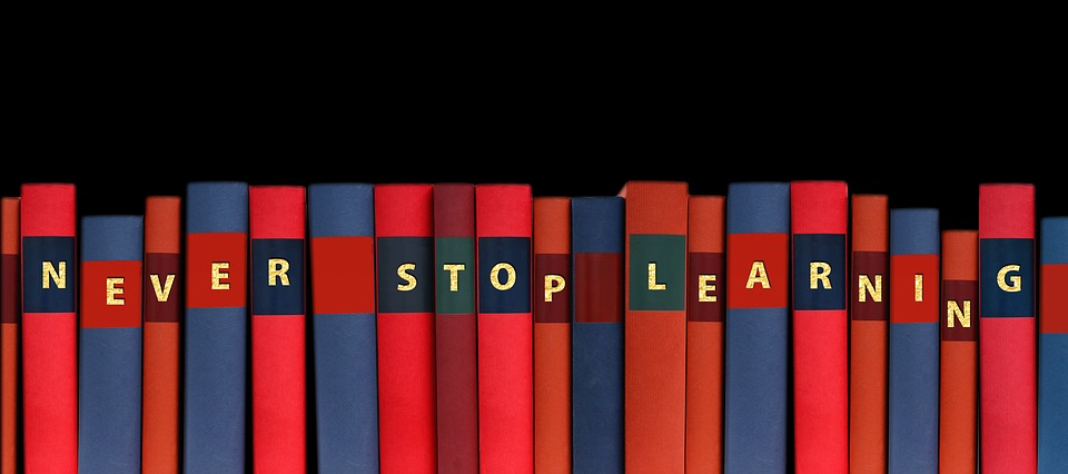 Red And Blue Books On Bookshelf That Say Never Stop Learning